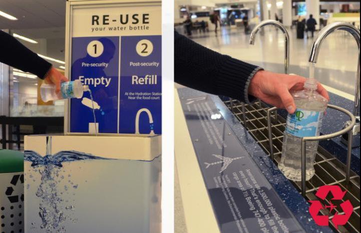Refill empty water bottle